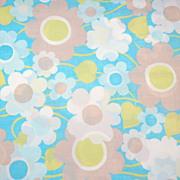 1960s Pacific ~ Blue Flower Power Percale Pillowcase