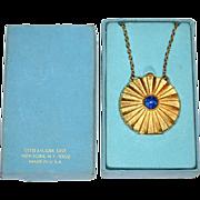 SALE 1960s Estee Lauder ~ Youth Dew Solid Perfume Faux Lapis Locket Necklace
