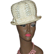 1960s Carol Ann ~ Mod Cream White Straw Hat