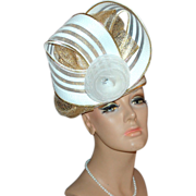 SALE Outrageous White Rhinestone & Gold Trim Hat