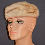 1950s Freiman ~ Honey Brown/Beige Fur Pillbox Hat