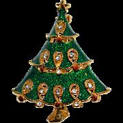 SALE Green Enamel & Rhinestone Christmas Tree Pin/Brooch