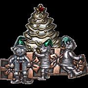 SALE KC Signed Enamel & Triple Metal Christmas Elf & Tree Pin/Brooch