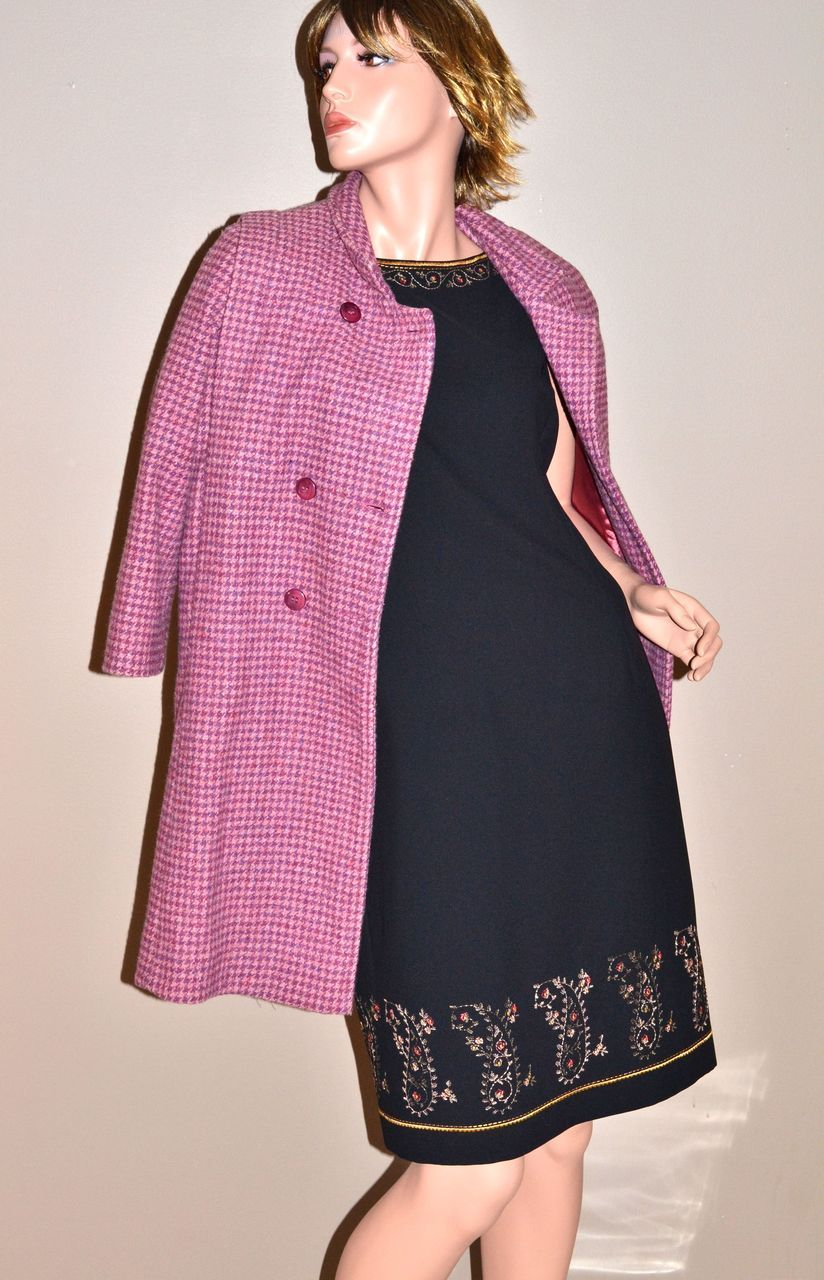 VTG Rothschild ~ Double-Breasted Pink & Purple Houndstooth Wool Coat