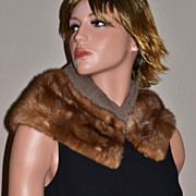 SALE 1940/50s Genuine Brown Mink Fur Collar Stole