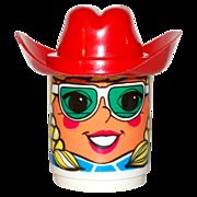 1970s Deka ~ Blonde Girl Mug w/ Red Cowboy Hat