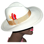 SALE ASTRE Winter White Wool Fedora Hat with Feather Accent