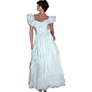 1970s Alfred Angelo ~ ILGWU '50s Style Bridal White Lace Gown