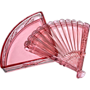 Imperial Glass ~ Cathay ~ Fan-Shaped Sweetmeat Pink Glass Candy Dish