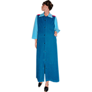 SALE Vanity Fair Turquoise Blue & Hot Pink Velour Lounge Robe
