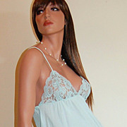 SALE 1970s Taryn Alexander ~ Turquoise Blue Nylon & Lace Maxi Nightgown