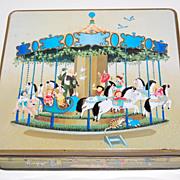 SALE 1984 F de Gail Signed Children on Carousel & Fun Times Candy Tin