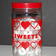 """SALE Red Heart """"Sweets"""" Glass Canister Jar w/ Lid"""