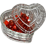 SALE Heavy Lead Crystal Glass Heart Candy Jar w/ Lid