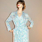 SALE 1970s Jaconelli ~ Blue Forget-Me-Not Flower Belted Robe