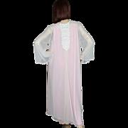 SALE 1980s Flora Nikrooz ~ Sheer Pink Bell-Sleeved Peignoir Robe