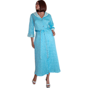 SALE 1950s Quilted Powder Blue & Lace Belted Maxi Robe