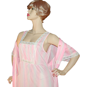 SALE Pink Nylon & Lace Maxi Nightgown with Matching Robe