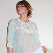 SALE 1960s Gilead ~ Sheer Mint Green Chiffon & Ecru Lace Peignoir