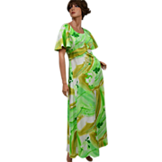 SALE 1970s Hawaii Nei ~ Light Green Floral Maxi Dress