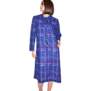 SALE 1970s Lady Blair ~ ILGWU Paint Striped-Plaid Blue Casual Dress
