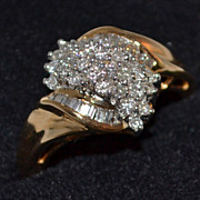 14K 0.9 ct Baguette & Round Waterfall Diamond Ring