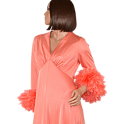 SOLD 1970s Dan Lee Couture ~ Coral Peach Feather Cuff Maxi Dress