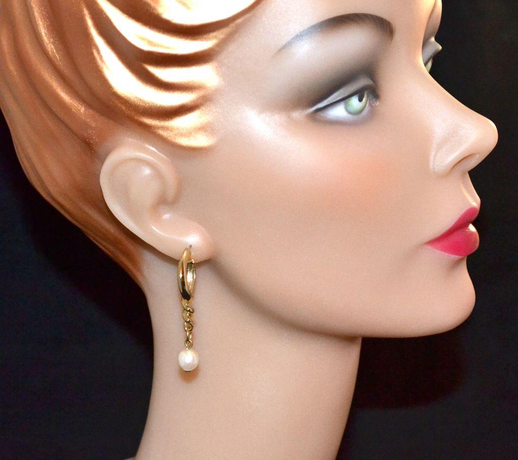 1970s Faux White Pearl w/ Goldtone Hoop Earrings