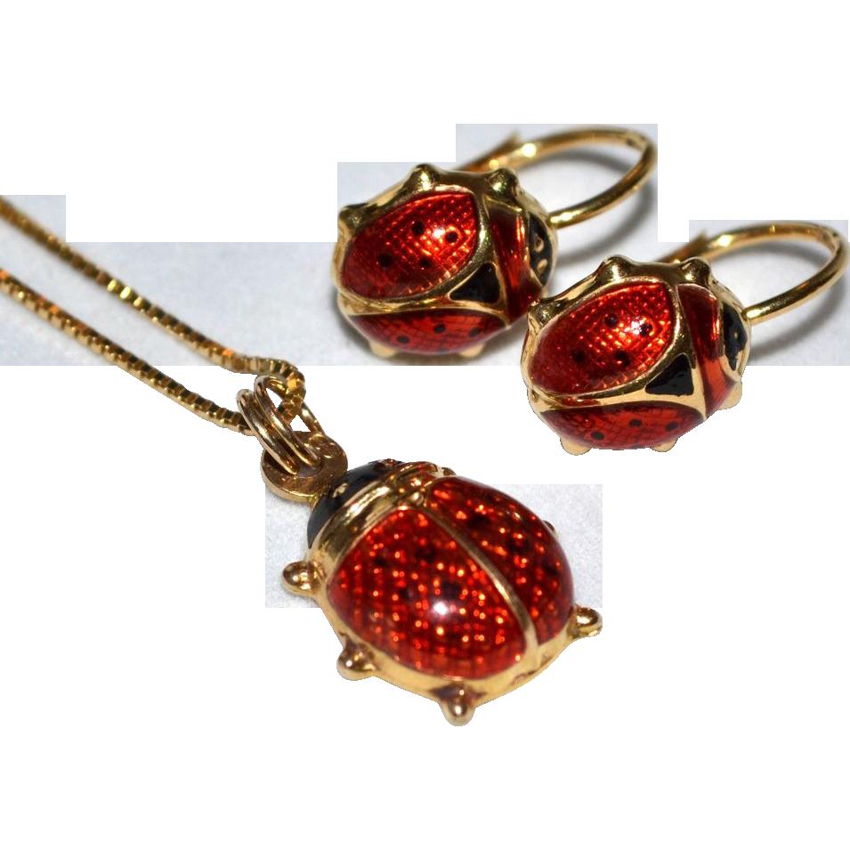 Ladybug earrings 14k gold ring