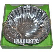 1975 Irvinware ~ Chrome Plated Shell Nut & Candy Dish w/ Original Box
