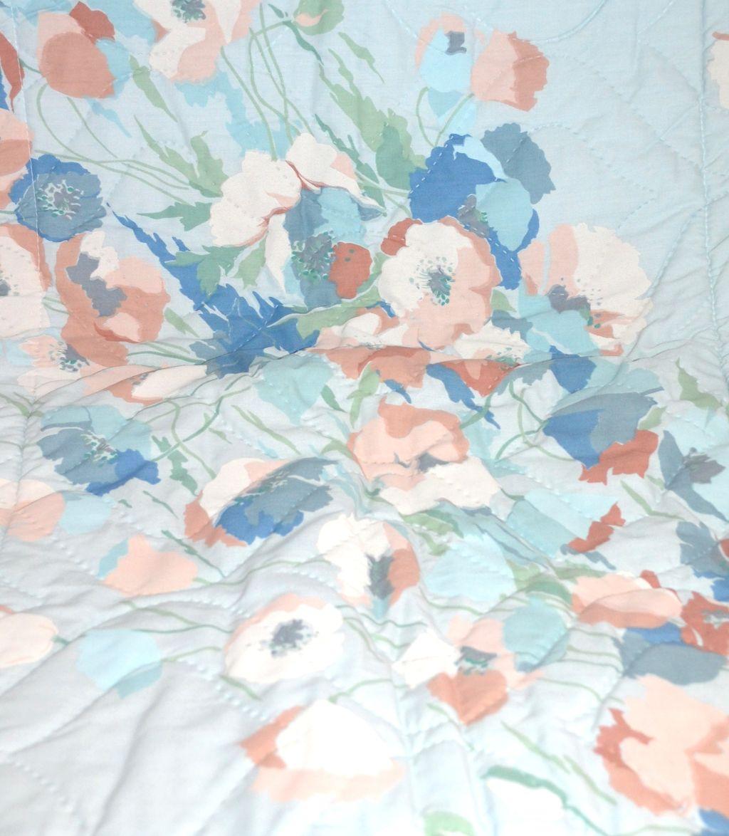 1960s Springs Industries ~ Set of 2 Blue Quilted Flower Pillow Shams
