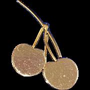 SALE Large Pair of Cherries Goldtone Brooch/Pin