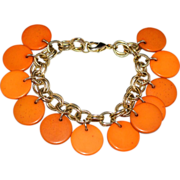 SALE Pumpkin Orange Lucite Disc Dangle Bracelet