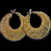 1970s Large Twisted Goldtone Hoop Earrings