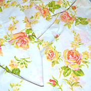 SALE 1960s Fieldcrest ~ Pink & Orange Rose No Iron Full Flat Sheet