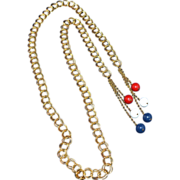 SALE 1960/70s Red, White & Blue Bead Goldtone Lariat Necklace/Belt