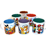 SALE Set of 6 Disney ~ Colorful Mickey Mouse & Pooh Painted Mugs