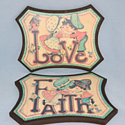 SALE Homco ~ Set of 2 Love & Faith Boy/Girl Wall Plaques