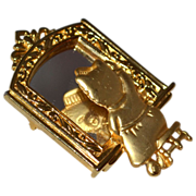 SALE JJ ~ Cat in the Mirror Goldtone Brooch/Pin