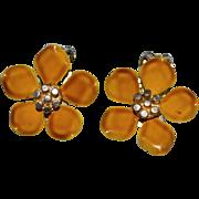 1960s Gold Enamel Flower Clip Earrings