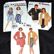 SOLD Set of 3 Simplicity Women's Clothing Sewing Patterns - Red Tag Sale Item