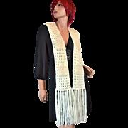 SALE Long Cream Crochet w/ Rabbit Fur Scarf