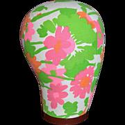 SALE 1960s Pink & Orange Flower Power Fabric Mannequin Head