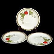 SALE Metlox Poppy Trail ~ Set of 3 Strawberry Pattern Saucers