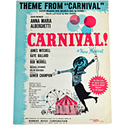 SALE 1961 Carnival! 'Love Makes the World Go 'Round' Sheet Music