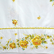 SALE 1960s Springmaid ~ 3-Pc Yellow Rose Embroidery Trim Twin Sheet Set
