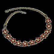 SALE Red Enamel Rhinestone Flower Bookchain Choker Necklace