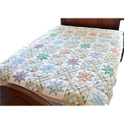SALE Arch Quilts ~ Hand-stitched Colorful Primitive Star Fabric Quilt