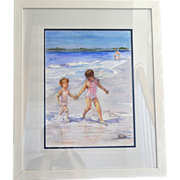 "SALE 24"" Original Watercolor 'Take My Hand' by Artist Rita Trudeau Framed Painting"