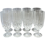SOLD Set of 8 Lead Crystal Fluted Diamond-Cut Water Goblets or Glasses